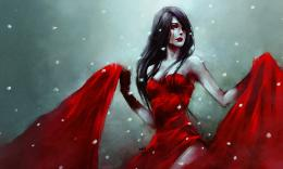 nanfe, anime girl, red dress, cry, blood, snow, sadness, art wallpaper 1853