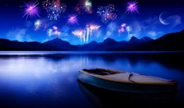 Boat On The Lake With Fireworks In Night Hd Wallpaper | Wallpaper List 1206