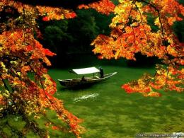 Wallpaper: Boat on river autumn in Japan wallpapers 387