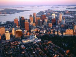 Aerial View Downtown Boston Massachusetts Landscape Wallpaper 1754