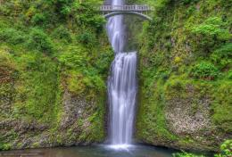 Download wallpaper Multnomah falls, Benson Bridge, Columbia River 1040