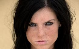 Brunettes women blue eyes freckles faces | HD Wallpapers 1222