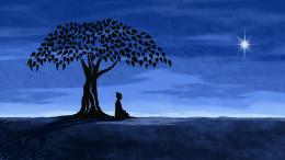 Buddha Meditation Under Linden Tree Star Silhouette 337
