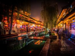 light trees dark night china market city lights long exposure hdr 1686