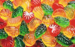 Candy colorful Fruit Heart jellies leaf shaped HD Wallpaper 752