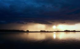 Wallpaper sunset, lake, twilight, evening, dark clouds desktop 1447