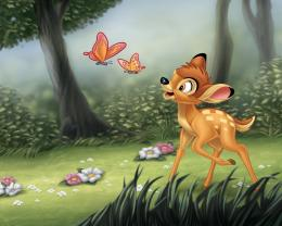 deer playing with butterflies wallpaper in CartoonAnime wallpapers 1632