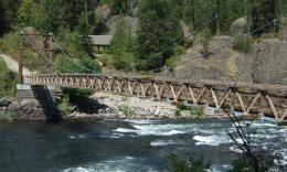 swinging foot bridge spans the Spokane River in Riverside State Park 1741