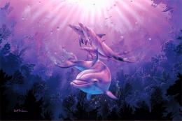 art dolphins dolphin ocea sea underwater fantasy wallpaper background 1068