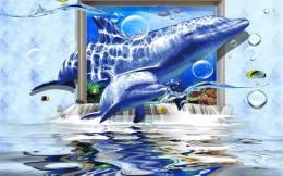 Abstract underwater dolphin art summer blue wallpaper 349
