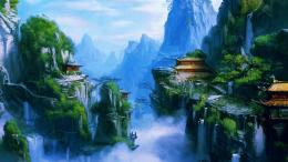 fantasy art asian oriental landscapes buildings castles mountains 457