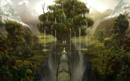Waterfall tree wallpaperFantasy wallpapers#11239 609