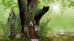 fairy home nature tree house fantasy hd HD Wallpaper 1671