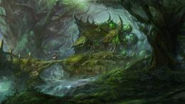 trees forests houses fantasy art artwork witcher wallpaper background 505