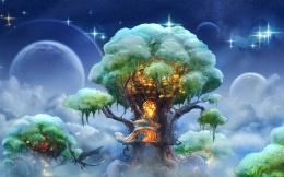 fantasy art house landscapes trees sky stars clouds islands wallpaper 1689