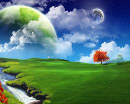 Green and blue tree abstract earth fantasy HD Wallpaper 1558