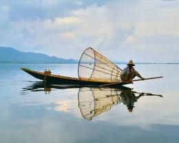 Fisherman Boat Reflection Wallpaper Wallpaper | WallpaperLepi 1534