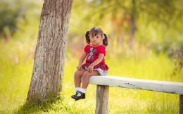 Baby Girl On Bench With Red Dress HD Wallpaper | Cute Little Wallpaper 1877