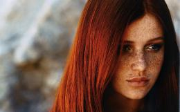 , cintia dicker, close up, face, girl, gray, model, redheads, woman 192