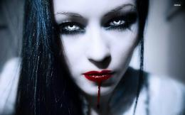 Blood dripping from her lips wallpaperGirl wallpapers#16328 586