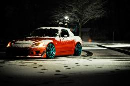Honda, s2000, tuning, honda, red, winter, night wallpaperphotos 470