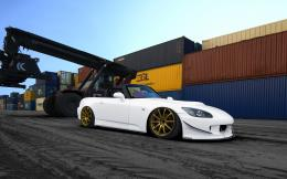 Honda, s2000, tuning, photoshop, white, car, gold, wheels, port, front 1743
