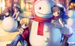 wallpaper: anime children, playing, snowman, scarf, snowball 433