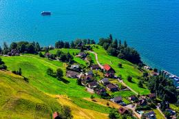 Wallpaper lake, boat, hill, mountain, grass, trees, houses wallpapers 1525