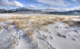 Wallpaper snow, grass, winter, lake, mountains, hills wallpapers 738