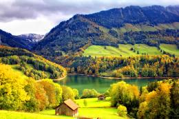Mountain houses hills lake valley nature HD Wallpaper 1502