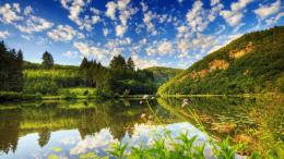 Hills, Woods, Lake, Reflection, Sky 1600x900WallpaperImgPrix 1140