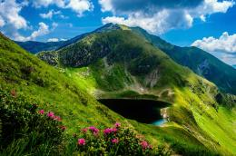 Mountain lake nature landscape hills sky HD Wallpaper 420