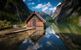 Wallpaper house, lake, bridge, pier, wood, mountains, reflection 1780