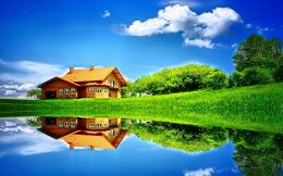 Wallpaper house, lake, grass, clouds, reflection, summer desktop 1287