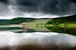Sky, forest, lake, bridge, house, reflection, gray day wallpapers 1905