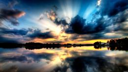 Landscape Lake Sunset House Tree Water Reflection Cloud Sky Wallpaper 661