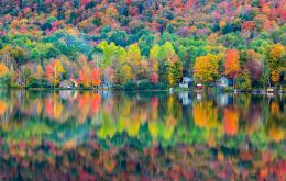 Wallpaper autumn, forest, house, lake, reflection wallpapers 309