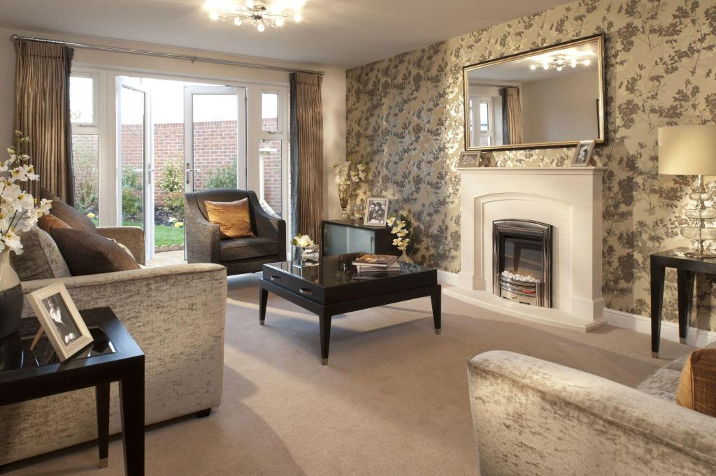 brown living room lounge with mirror fireplace nice deco wallpaper 408