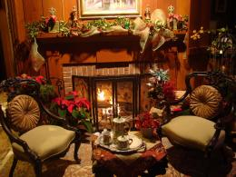 christmas fireplace fire holiday festive decorations e wallpaper 1038