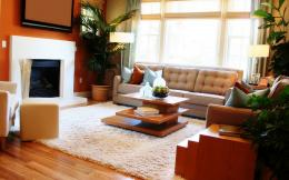 Living room with fireplace wallpapers and images 347