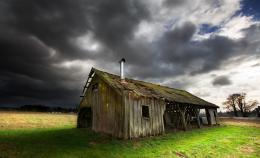 Wallpaper old barn, barn, dark clouds, field desktop wallpaper 910