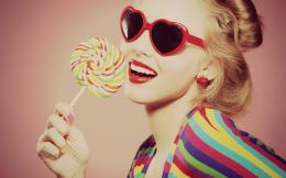 girl smile glasses heart candy lollipop hd wallpaperMagic4Walls com 209