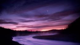 Download Madison river Yellowstone Park at purple night wallpaper in 1241