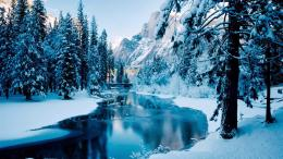 Blue Winter Beautiful Forest Ice Mountain River Mountain River Snow 1363