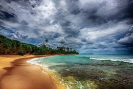 Wallpaper sky, sea, clouds, shore, Cloudy sky over the tropical coast 335