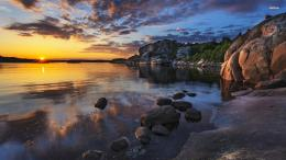 sunset over the rocky shore wallpaperNature wallpapers#36165 1570