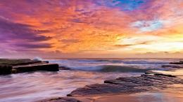 Wonderfully Colored Sky Over Rocky Shore hd wallpaper #1643147 1358