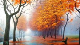 1920x1080 Wallpaper autumn, park, avenue, benches, trees, leaf fall 1487