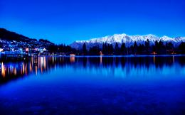 pine trees lake city dusk lights reflection wallpaper background 1736