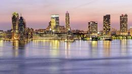 City Waterfront At Dusk Hd Wallpaper | Wallpaper List 1402